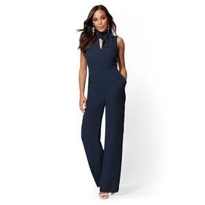 New York & Company Bow Accent Wrap Jumpsuit S